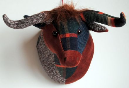 "Dora Designs Fionnlagh Patchwork Highland Cow ""Trophy Head"""
